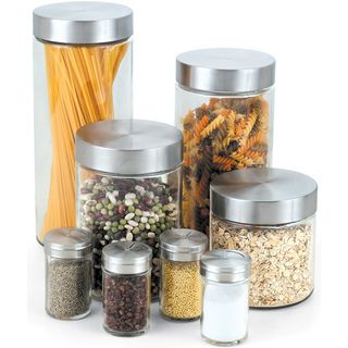 Cook N Home 8 Piece Glass Canister Spice Jar Set