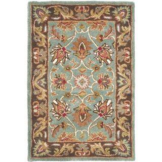 Handmade Heritage Blue/ Brown Wool Rug (3 x 5)