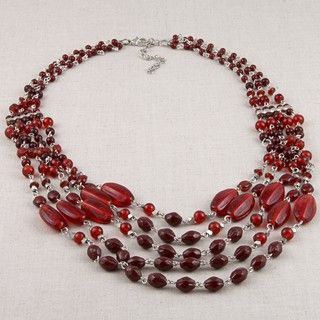 Nickel plated Colors of Red Glass Bead Necklace (India)