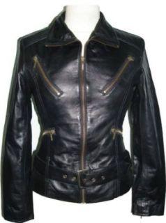 Womens Black Leather biker jacket #Z4 Clothing