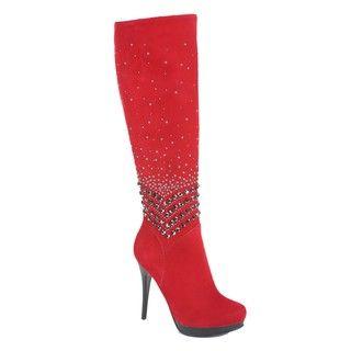 Italina Womens Metal Beaded Red Knee High Boots