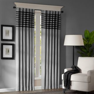 Madison Park Canyon 84 inch Grey / Black Window Panel Pair