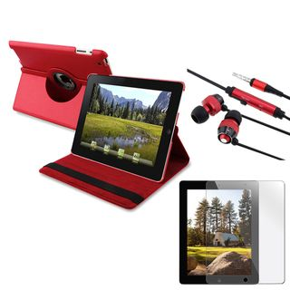 BasAcc Red Leather Case Stand/ Headset/ LCD Protector for Apple iPad 2