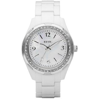 Relic Womens Crystal Accent White Resin Watch