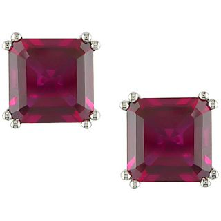 10k White Gold 8 mm Created Ruby Earrings