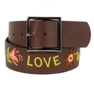 Womens Cute Embroidered Brown Leather Style Belt Large by