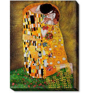 Klimt The Kiss Hand painted Framed Canvas Art