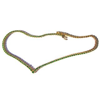 14k Yellow Gold Columbian Emerald Estate Necklace