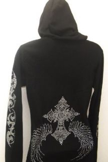Royal Cross Angel Wing Flashy Rhinestone Hoodie Clothing