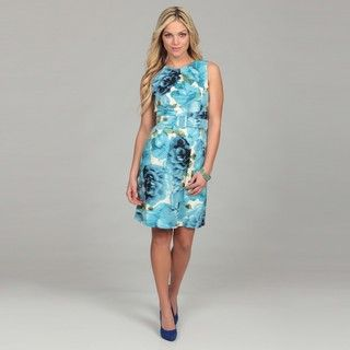 Eliza J Womens Green Floral Print Belted Dress