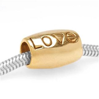 22k Goldplated Love Large Hole Barrel Bead (Pack of 2)