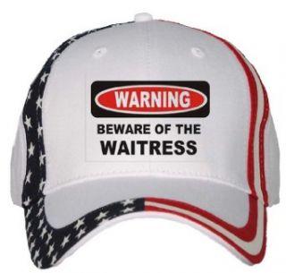 BEWARE OF THE WAITRESS USA Flag Hat / Baseball Cap
