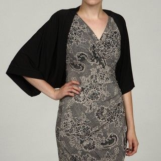 London Times Womens Black Kimono Sleeve Shrug