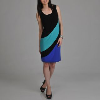 Tiana B. Womens Black Color block Sleeveless Dress