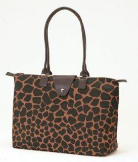 Brown/Black Giraffe Print Long Handle Fold Up Tote by