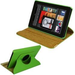 SKQUE  Kindle Fire Green Rotating Leather Case/ Screen Protector