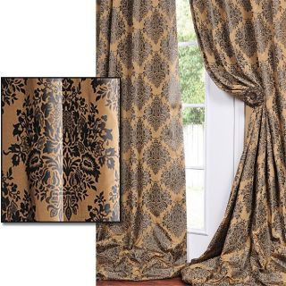 With Soft Black Print Faux Silk Curtain Panel 108 Inch