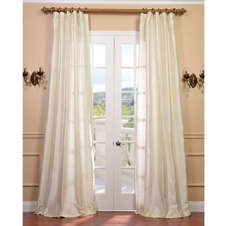 Signature Pearl White 108 inch Textured Silk Curtain