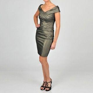 Cachet Womens Antique Gold Taffeta Evening Dress