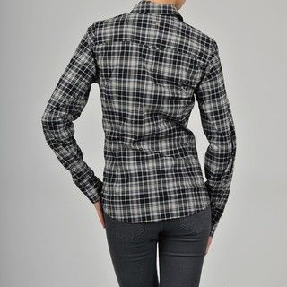 Apart Womens Black/ White Plaid Ruffle Tux Shirt