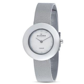 Skagen Womens Round Mother of Pearl Dial Titanium Watch