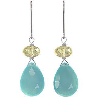 Ashanti Sterling Silver Blue Chalcedony Earrings (Sri Lanka