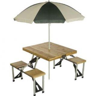 Picnic Plus Wood Folding Picnic Table W/Umbrella Clothing