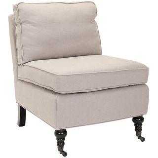 Bosio Beige Linen Armless Club Chair