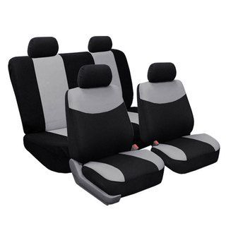 Full Set Grey Fabric Seat Covers Non Split Solid Bench for Sedans, SUV