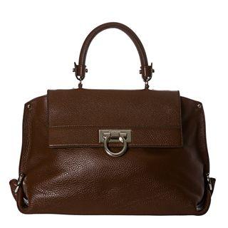 Salvatore Ferragamo Sofia Medium Brown Pebbled Leather Satchel