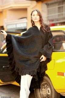 100% alpaca wool wrap, Black Ruffles Shoes