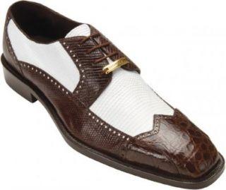 Mens Alex Exotic Shoes,Brown/White Crocodile/Lizard,10 M US Shoes