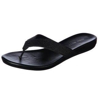 Nine West Womens Heydarling Black Flat Thong Sandals