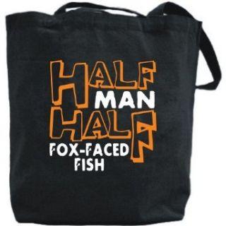 Canvas Tote Bag Black  Half Man , Half Fox Faced Fish