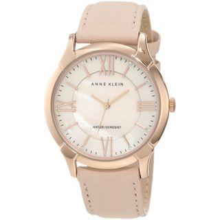 Anne Klein Womens Stainless Steel Pink Leather Strap Watch