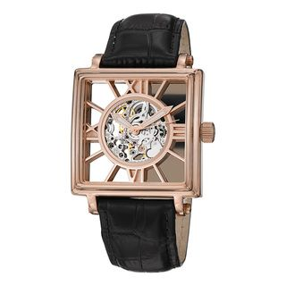 Stuhrling Original Mens Winchester Square Leather Strap Watch
