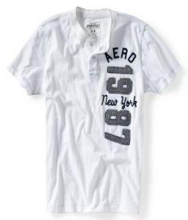 Aero NY87 Vertical Henley Shirt (Small, Bleach/White (102)) Clothing