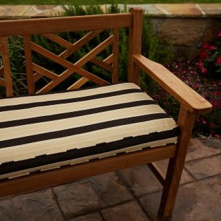 Clara Gold/ Brown Stripe Outdoor 48 inch Sunbrella Bench Cushion