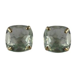 10k Yellow Gold Cushion cut Green Amethyst Stud Earrings