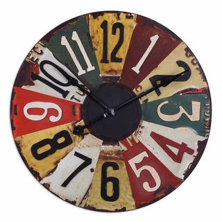Rustic Bronze Vintage License Plates 29 inch Wall Clock