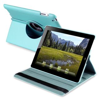 Blue 360 degree Leather Swivel Case for Apple iPad 2