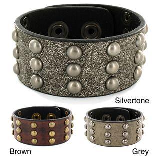 West Coast Jewelry Leather Snap Cuff Stud Design Bracelet