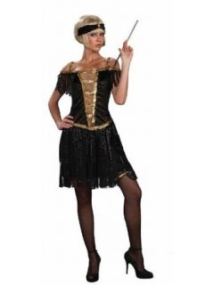 Golden Glamour Roaring 20s Flapper Black Dress Costume
