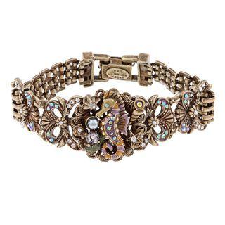 Sweet Romance Bronze Austrian Crystal Art Deco Seahorse Mesh Bracelet