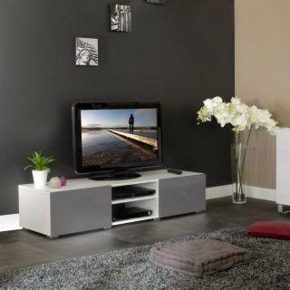 MANGO Banc TV 140 cm 2 tiroirs blanc/gris brillant   Achat / Vente