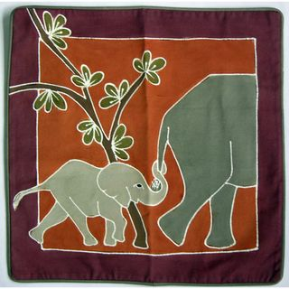 Hand Painted African Elephant Pillow Cover (Zambia)