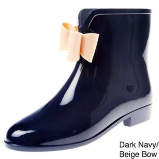 Henry Ferrera Womens Solid Bow Detail Rubber Ankle Rain boot