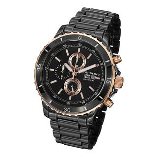 Stuhrling Original Mens Regatta Ceramic Chrono Bracelet Watch