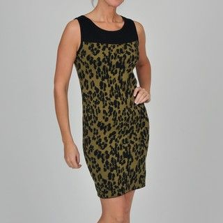Adrienne Vittadini Womens Sleeveless Leopard Jacquard Dress