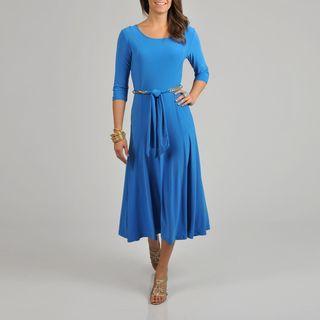 Lennie for Nina Leonard Blue Belted Dress